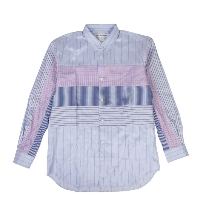 Cotton Stripe Check Long Sleeves Shirt - Blue