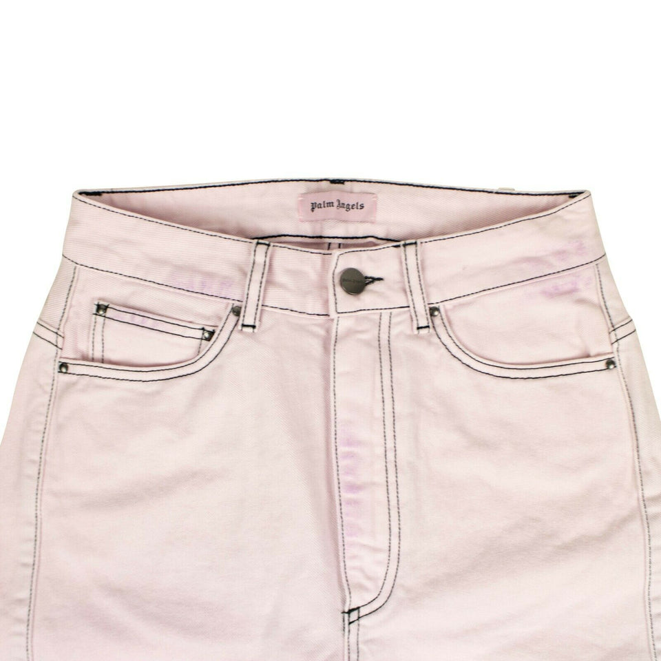 Cotton Curved Seam Jeans - Pink