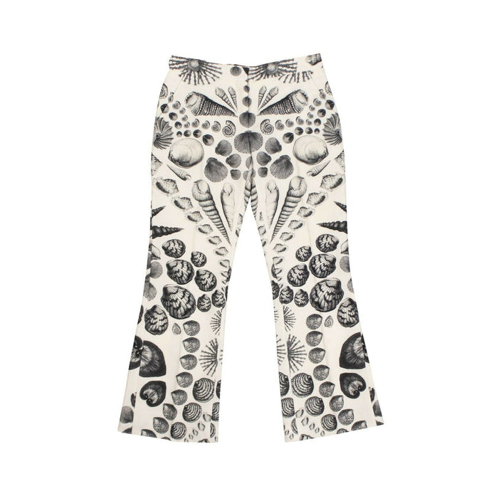Sea Shell Cropped Flared Pants - White