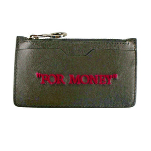 Leather 'For Money' Zip Card Holder - Black