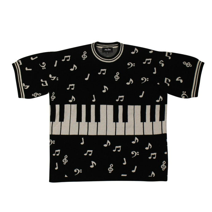 'Piano Note' Short Sleeves Crew Tee Sweater - Black