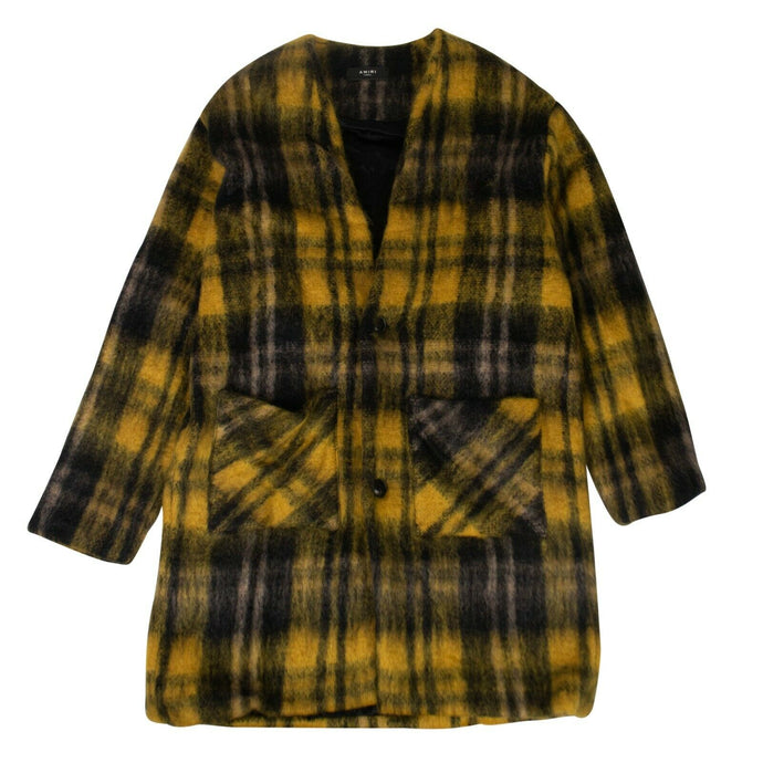 Plaid Mohair Blend Cardigan Coat - Black And Yellow