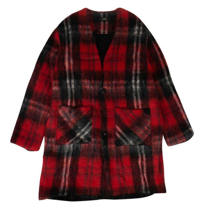Plaid Mohair Blend Cardigan Coat - Black And Red