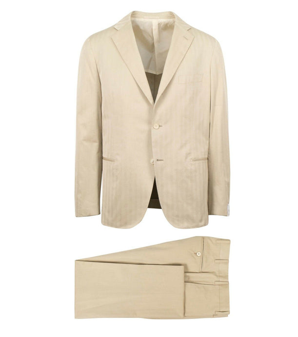 Drop 8 Cotton 3 Roll 2 Button Slim Fit Suit - Beige