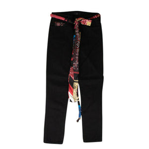 Denim Silk Bandana Skinny Jeans - Black