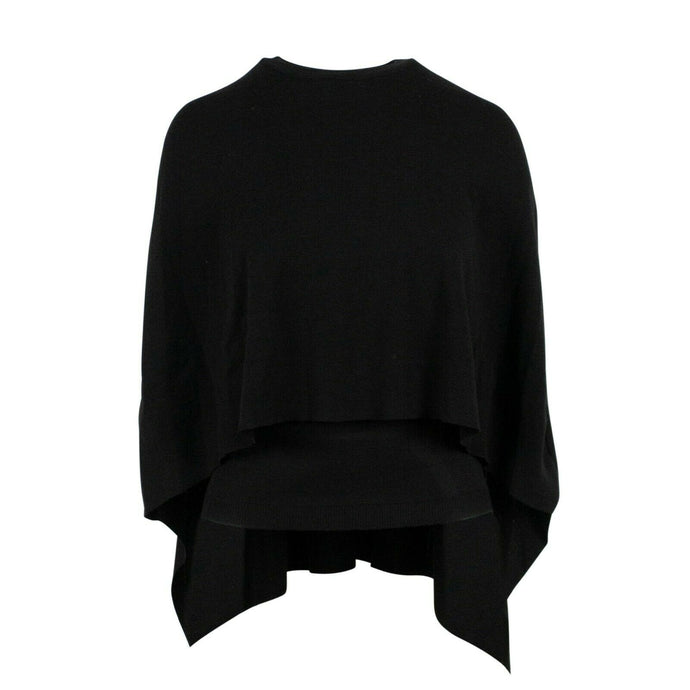 Wool Crew Neck Sweater Shawl Top - Black