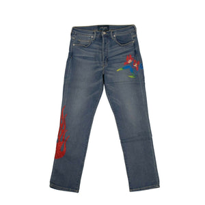 Cotton Flower Straight Jeans - Blue