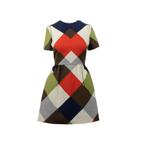 Color Block Short Sleeve Wool Blend Dress - Multi