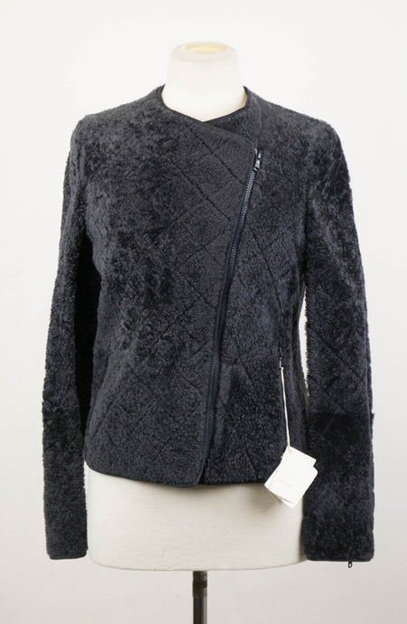Shearling Leather Biker Jacket - Midnight Blue
