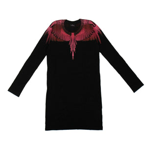 Cotton Pink Wings Mini Dress - Black