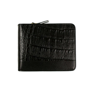 Reptile Leather Patchwork Cardholder Wallet - Black