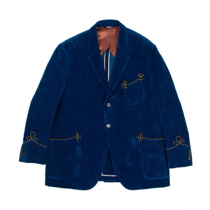 Uneven Dyed Velvet Blazer Jacket - Blue