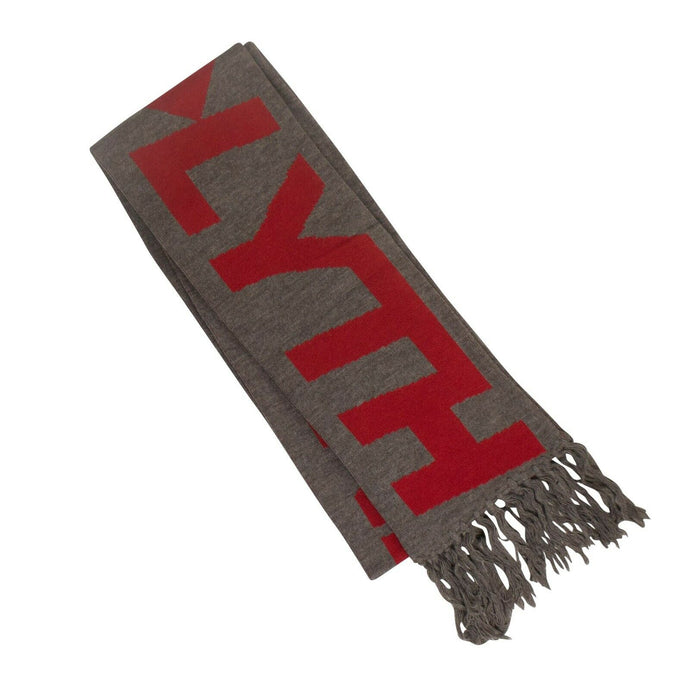 Intarsia Fringed Scarf - Gray And Red