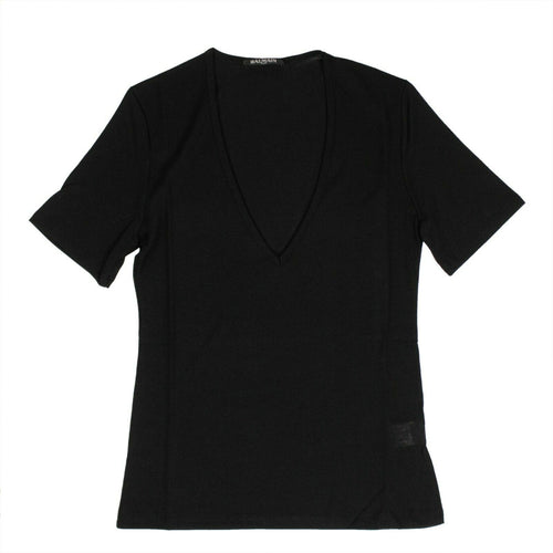 Short Sleeve Deep V Neck Knit T-Shirt - Black