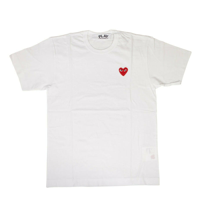 Cotton Red Heart Crew Neck T-Shirt - White