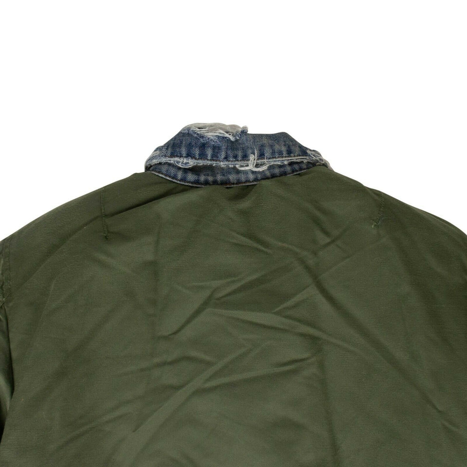 Reverse Trucker Bomber Jacket - Blue Denim/Green
