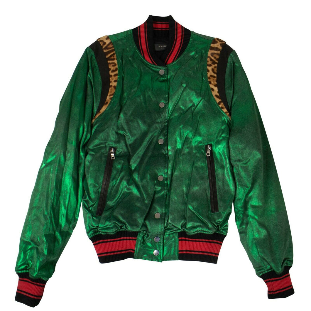 Silk Metallic Varsity Jacket - Green