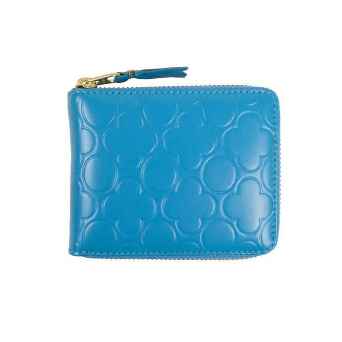 Leather Clover Embossed Small Wallet - Blue