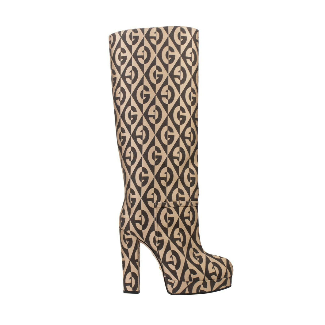 Mini Diamonds Knee High Boots - Brown And Beige