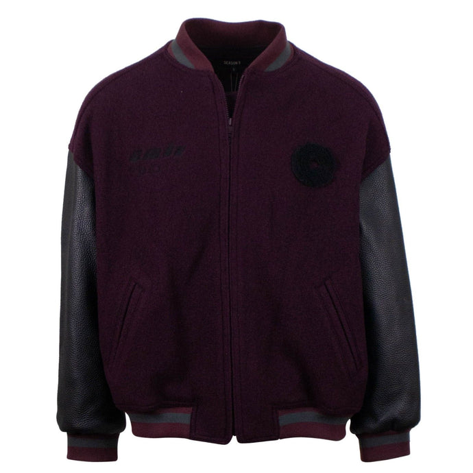 Season 5 'Oxblood Ink' Classic Bomber Varsity Jacket - Burgundy