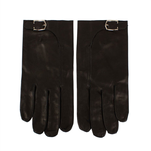 Black Calfskin Leather With Buckle Gloves