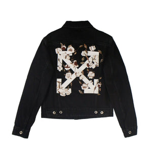 Denim Beaded Logo Jacket - Black