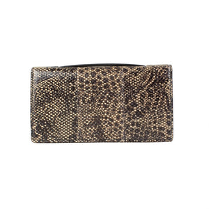 Snakeskin Leather Embellished Pouchette Clutch - Brown