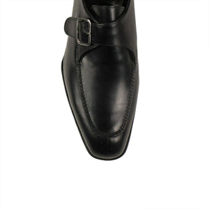 Leather Single Monk Strap Dress Shoes - Black