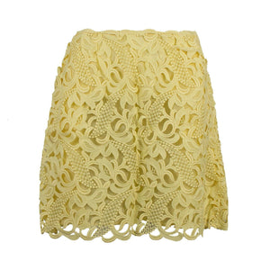 Silk Floral Embroidered Mini Skirt - Yellow