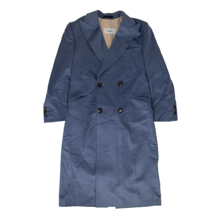 Cashmere Double-Breasted Fitted Overcoat - Midnight Blue