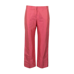 Cropped Cotton Blend Pants - Pink