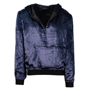 Velour Half Zip Pull Over Hoodie - Navy
