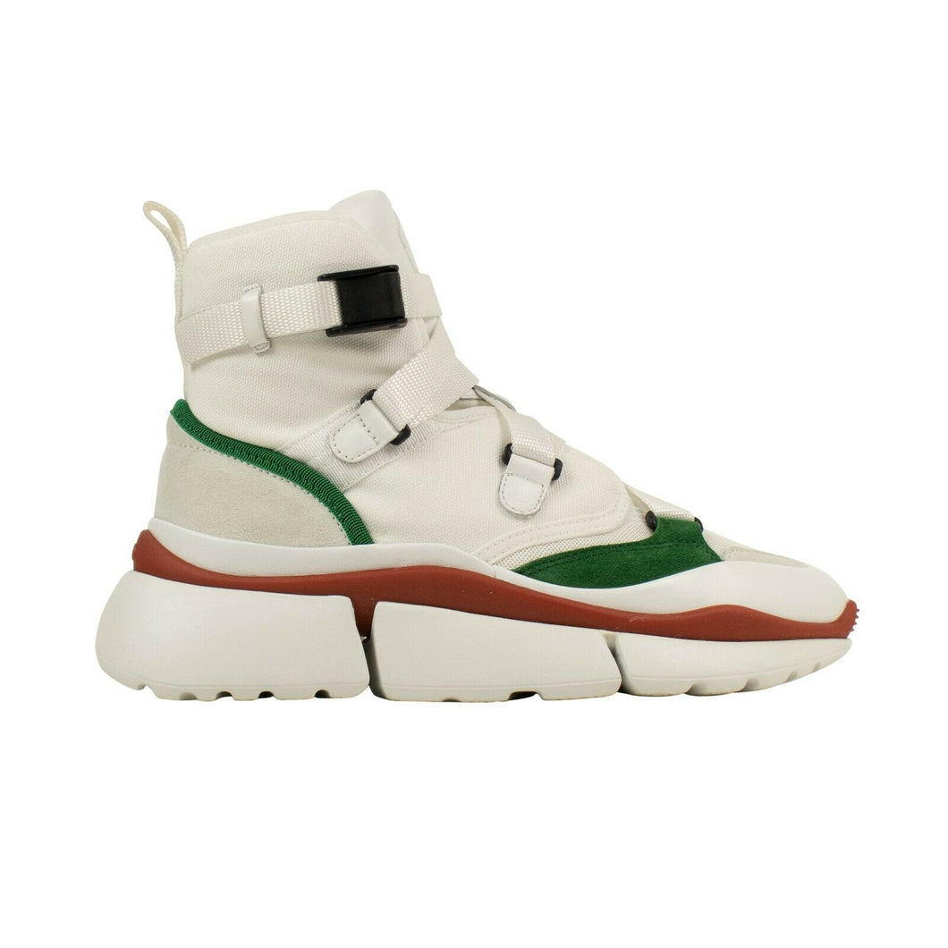 Suede 'Sonnie' High-Top Sneakers - White/Green