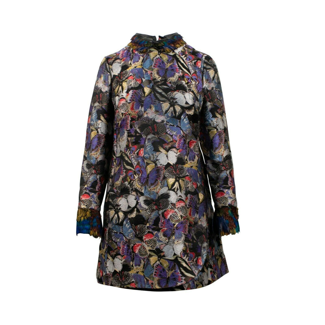 Long Sleeve With Butterfly Shift Dress - Multi