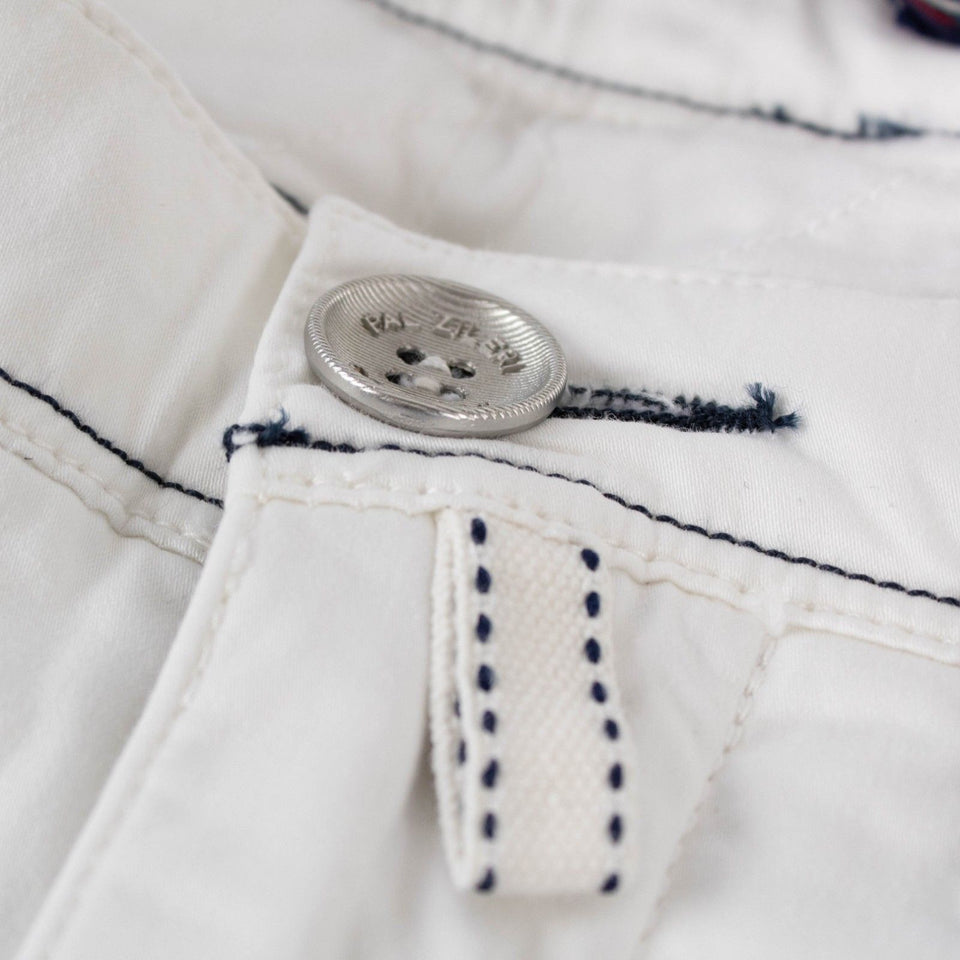 White Cotton Blend Pants