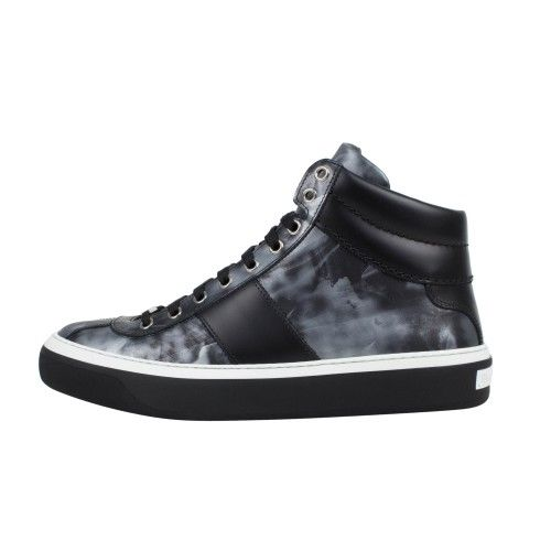 Leather Hi-Top Sneakers - Gray / Black