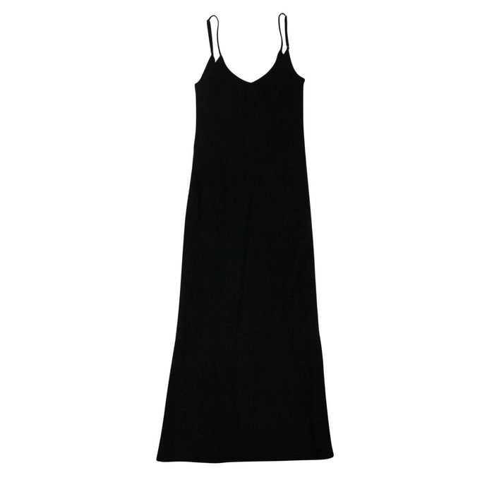 Mohair Wool Plunge Neck Long Dress - Black