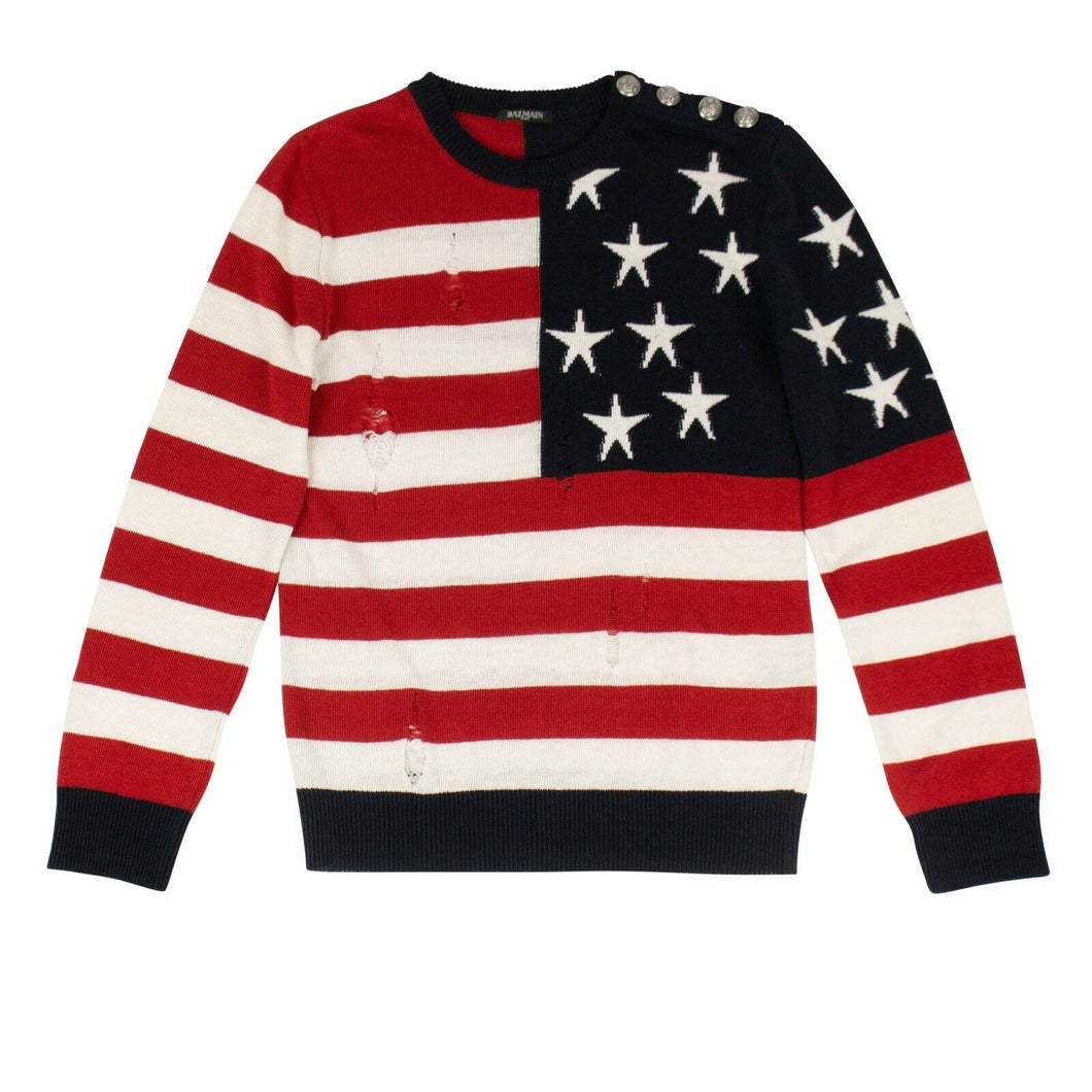 American Flag Distressed Linen Sweater - Red / White / Blue