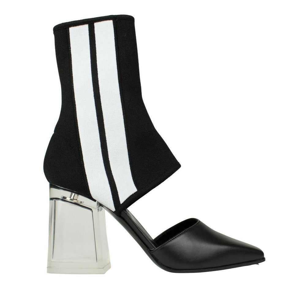 Striped Sock Cutout Ankle Boots - Black