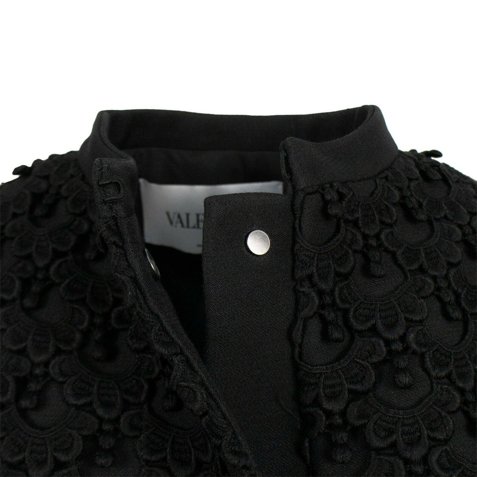 Cotton Blend Embroidered Cape Coat - Black
