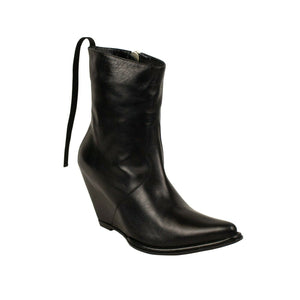 Leather Western Low Boots - Black