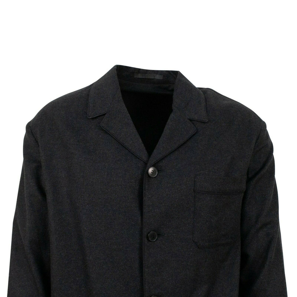 Cashmere Blend Color Block 4 Button Suit - Gray / Blue