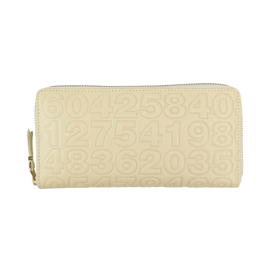Leather Number Embossed Wallet - Cream