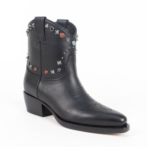 Multi-Color Stone Studded Texan Boots - Black