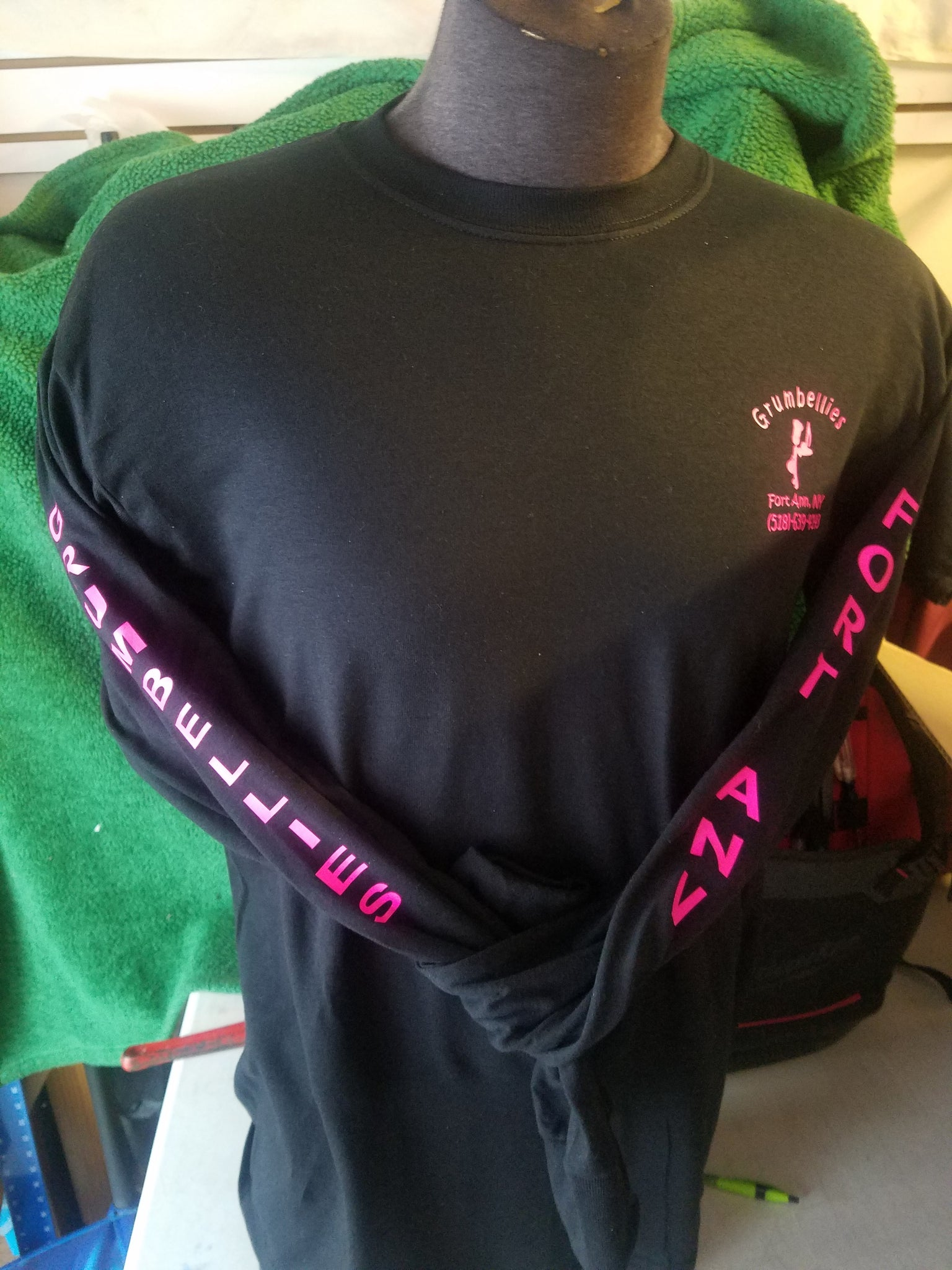 Copy of Grumbellies Black Long Sleeve with Hot Pink Lettering