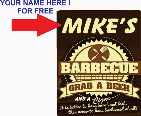 Barbecue  Grab A Beer Cigar 8x10 Add Name For Free