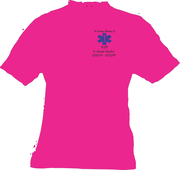 Dave Barker pink t shirt In loving memory of shirt short sleeve