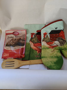 Rooster and Barn  Oven Mit with Hand Towel Spoon and  Fudge Brownie Mix Gift Set