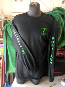 Grumbellies Black Long Sleeve with Neon Green Lettering