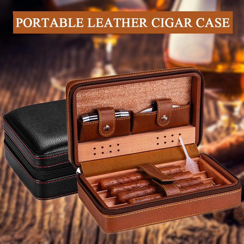 Leather Cigar Case Holder Portable Travel Humidor Storage Box Cedar Wood Cigar Humidor Humidifier Accessories Without Lighter